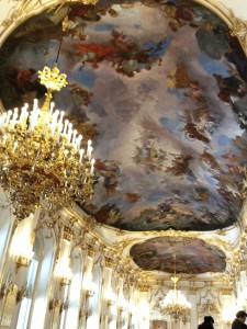Schonbrunn's great hall of mirrors. First this, then Versailles? Marie Antoinette must have really loved looking at herself