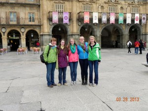 """One of my favorite games is called """"let's find a really friendly-looking person and ask them to take a picture of all of us"""". All the Recktenwald ladies in the Plaza Mayor in Salamanca!"""