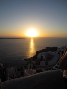 Sunset over the Sisterhood of the Traveling Pants house (the round-roofed building re-painted red) – the perfect ending to a perfect Santorini day