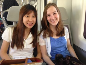 riding the train with my friend Yoona (another Badger) on our way to Madrid