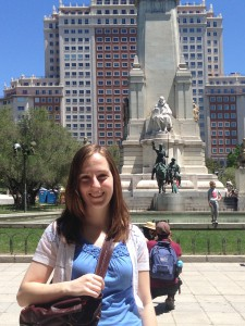 La Plaza de Espana in Madrid. The two statues behind me are Don Quijote and Sancho Panza. Miguel de Cervantes was the author of Don Quijote and was born in Alcalá (I'll be seeing the house where he lived soon!).