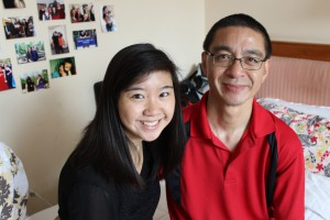 My dad and I in my dorm room