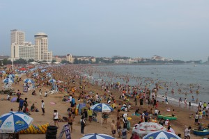 A beach filled with people