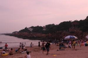 Qing dao beach at sunset
