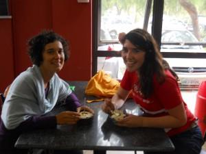 Gioia, amiga italiana, and I enjoying a crema de acaí