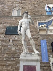 The replica David sculpture in Santa Croce Square