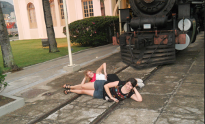 "Leande and I posin' in front of ""moving"" train"