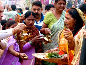 People doing puja for the health of their sons