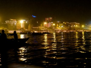 The ghats lit up for the gods to celebrate