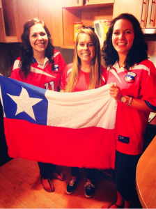 Supporting the Chilean Futbol Team with my Wisco Girls