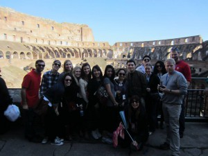 The group inside the Colosseo with our Mamma Bear and Professor Mike.