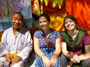 Our Nepali friend, Jackie, and me under the Bodhi tree. (photo credit: Lydia Greve)