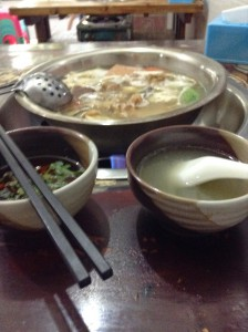 My first hotpot in Sichuan. I was still horribly jet lagged and confused, and really couldn't figure out what the shop owner was saying. Eventually she just threw some things together and gave me as little spice (flavor) as possible.