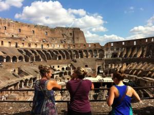 lovely roommates admiring the Coliseum
