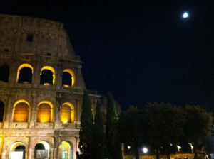 the Coliseum in the moonlight