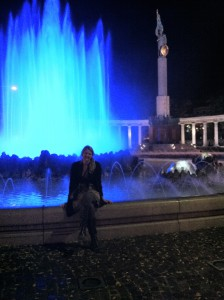 Vienna fountain all lit up at night.