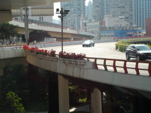 Planters lining highway