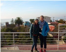 Sophie and I overlooking the view from Pablo Neruda's house