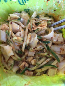 Liangpir – made with 3 different types of sauces, tofu, and cucumber.