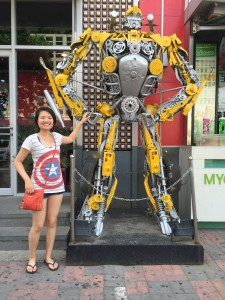 Bumblebee and I standing outside of the 8-Mile New Culture Plaza.