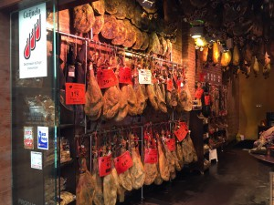 Racks of jamón, which is what Spaniards eat every single day (or maybe it's just me)