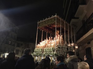 An ornate float from a procession in Madrid. We stumbled across this procession on our way home from dinner one night, and it was surprisingly small and calm.