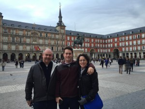 My wonderful family in the Plaza Mayor of Madrid during a rare moment without rain.